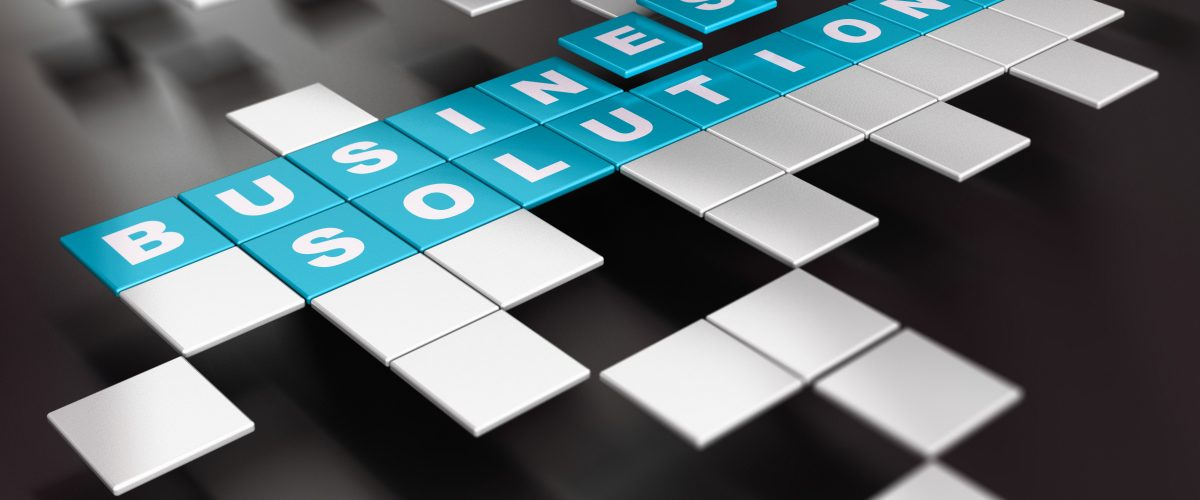 Word Business Solution written on blue square blocks over black background